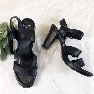 B.O.C. Black Leather Strappy Triple Strap Heels